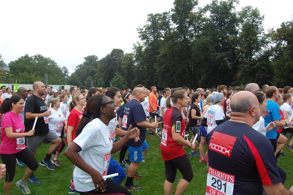 Runners warming up before the race